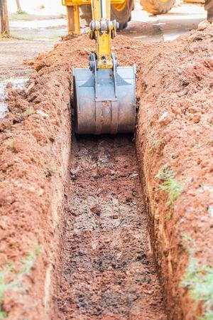 Working Excavator Tractor Digging