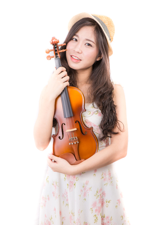 chinese american ethnicity: Asian woman and violin isolated over white background