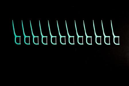 Dental floss  isolated on black background,dental floss for healthy teeth