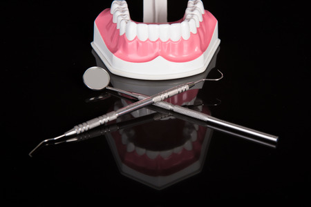 overbite: dental model,dental tool on black background Stock Photo
