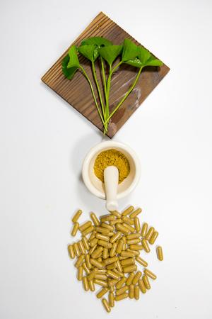 mortar and pestle medicine: gotu kola, asiatic pennywort, centella asiatica, medicine capsule, mortar and pestle on white background
