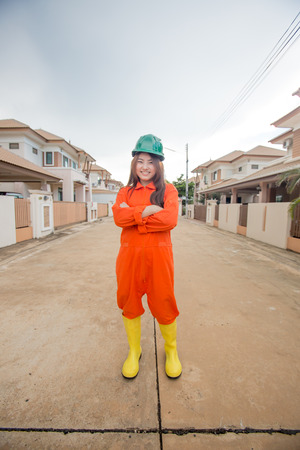 protective workwear: asian woman engineer wearing protective workwear at work Stock Photo