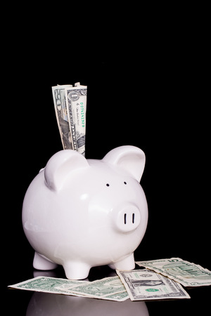 financial official: bank notes  into white piggy bank on black background