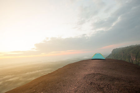Tourist tent in camp among rock in the mountain