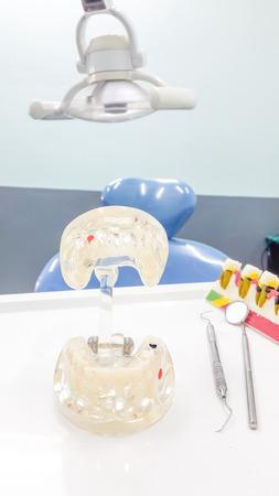 esthetics: Dental Teeth Model and dental tool in dental office