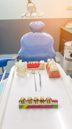 esthetics: Dental Teeth Model and dental tool in dental office