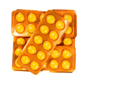 blister: Pile of pills in blister packs on white background Stock Photo