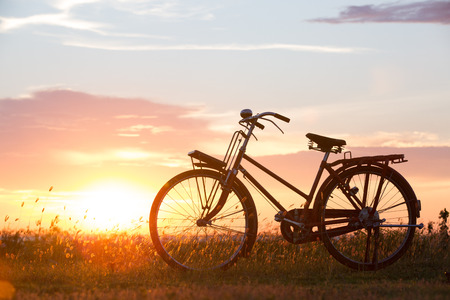 gear handle: silhouette of bicycle at sunset