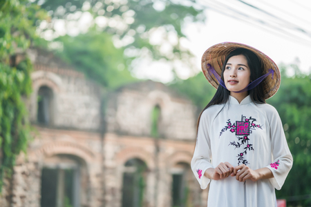 woman with Vietnam culture traditional dress,, Ao dai Stock Photo