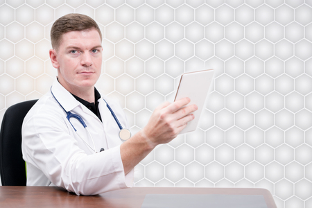 man doctor use tablet