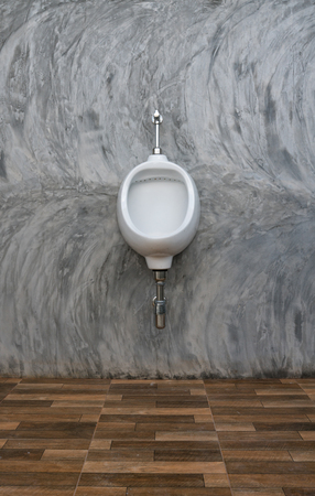white urinal  On The Concrete Wall