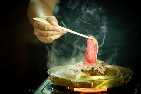 Korean barbecue or Yakiniku in japanese style Imagens