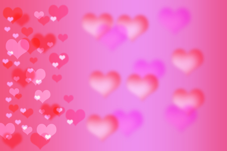 abstract bokeh heart shape with pink background