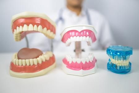 dentist demondstate  to clean teeth