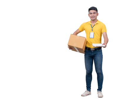 delivery asian man. Happy young courier holding  box and smiling on white background 免版税图像 - 100142672