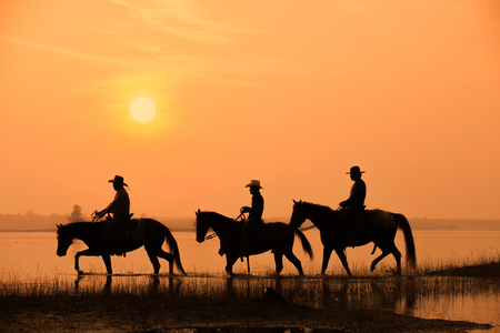 cowboy and horse with sunset background
