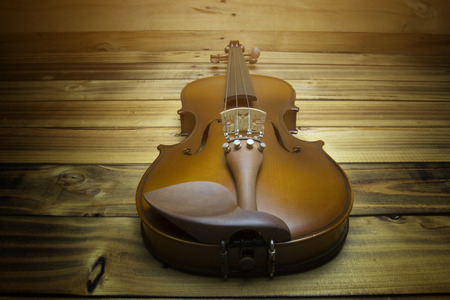 Close up violin on wooden