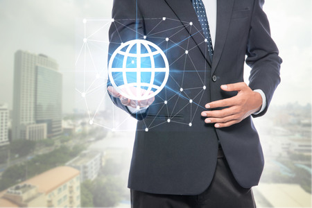 Businessman holding global network,globalization connection