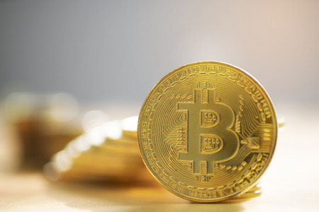 Close up gold bitcoin ,cryptocurrency Stockfoto