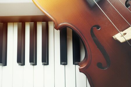 Violin on piano keyboard ,top view