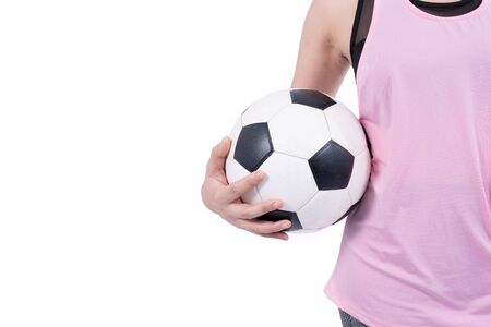 Woman holding a soccer ball on white background