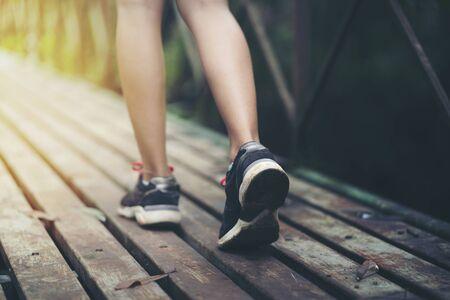 Close up foot walking on walkway Stockfoto
