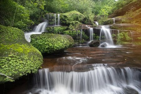 Beautiful waterfall in rainforest in Thailand Stockfoto