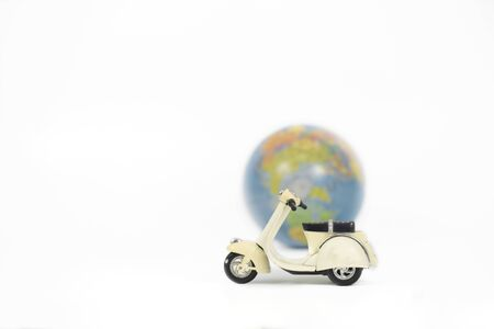 Classic scooter model with globe on white background