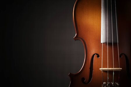 Beautiful antique violin on black background