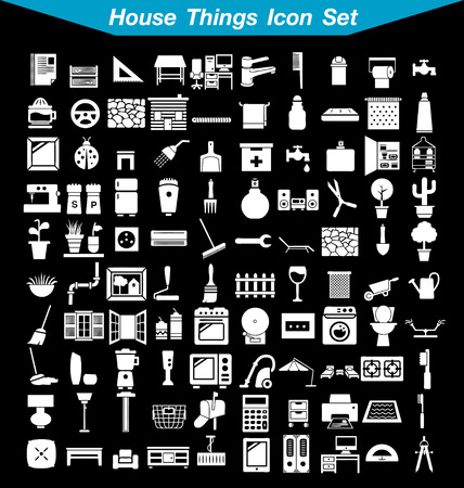 domestic garage: House things icon set