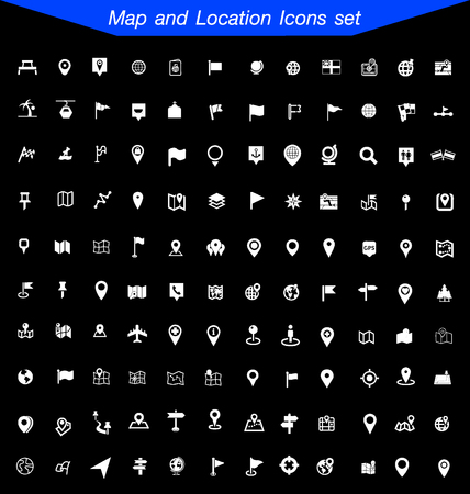 brand position: Map and Location Icons Illustration