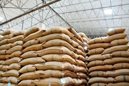 sacks: Hemp sacks containing rice