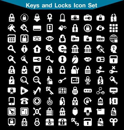 lock and key: Key and Lock icon set