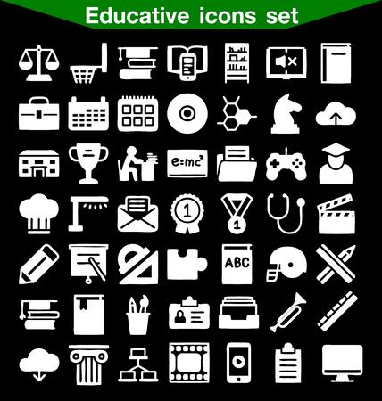 educative: Educative icon set Illustration