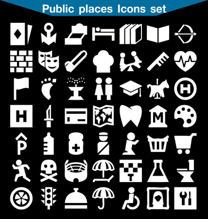 places: Public places icon set Illustration