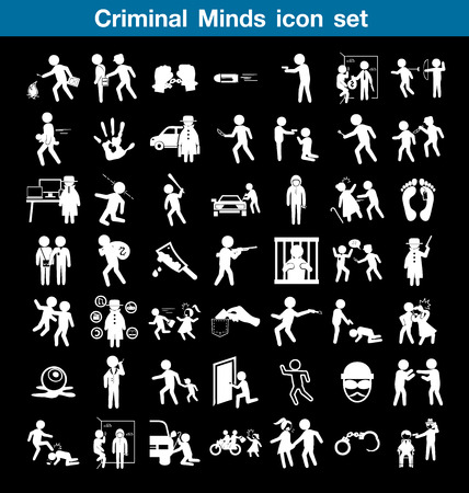 criminal: Criminal minds icon set Illustration