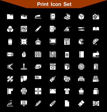 package printing: Print icon set