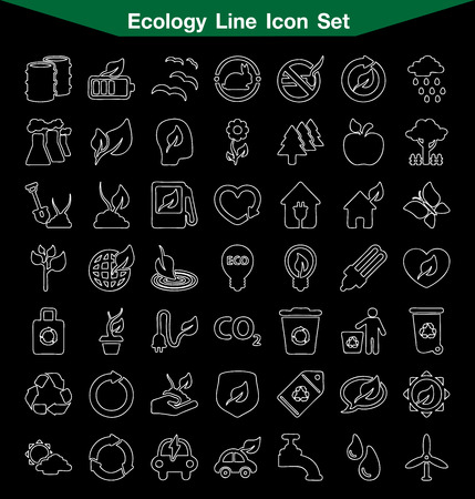 antipollution: Ecology line icon set