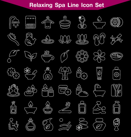 solarium: Spa line icon set