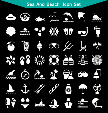kite surf: Sea and Beach icon set