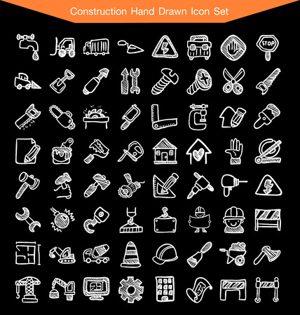skid: Construction Hand Drawn line Icon Set Illustration