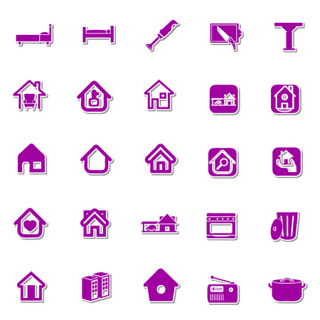 domestic garage: Home icon set Illustration