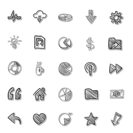 thump up: Social Media icon drawing by hand set
