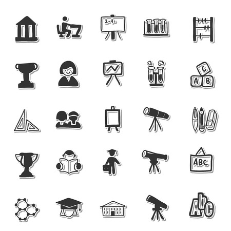 dollar icon: Education hand drawn icon set