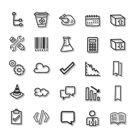 rubbish cart: Drawn line icons set Illustration