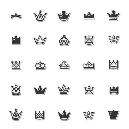 the aristocracy: Royal crown icon set Illustration