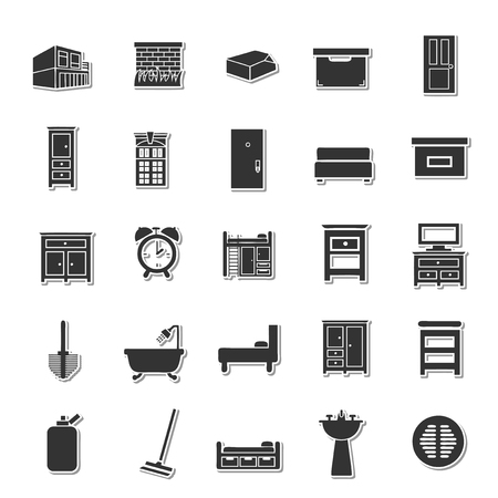 domestic garage: House icon set Illustration