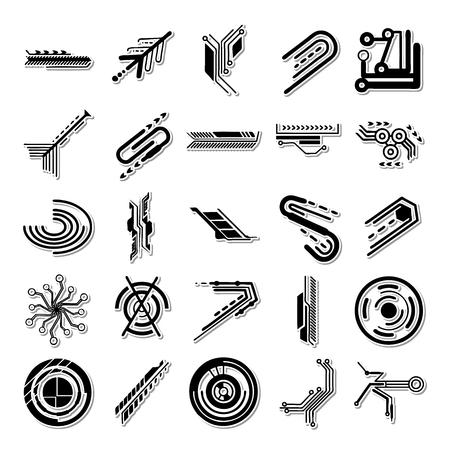 transistor: Electron icon set Illustration