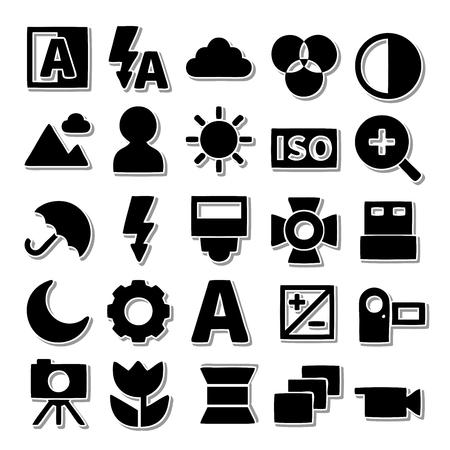 neutral density filter: Camera icon set Illustration