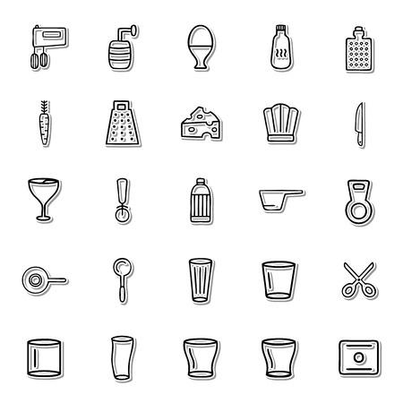 fryer: Kitchen line icon set